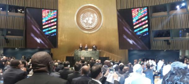 Momento de aprovação da Agenda 2030 pela Assembleia Geral da ONU.